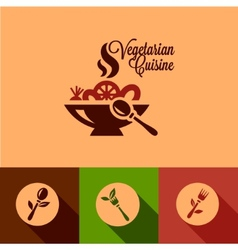 Flat vegetarian cuisine icons set vector