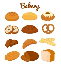 Set of colorful bakery icons vector