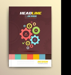 Brochure cover design with cog wheels templates vector