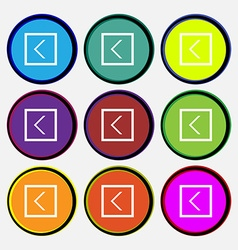 Arrow left way out icon sign nine multi-colored vector