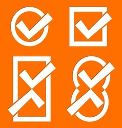 Orange tick icons vector