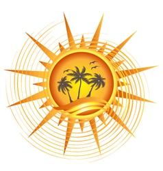Gold tropical sun logo vector