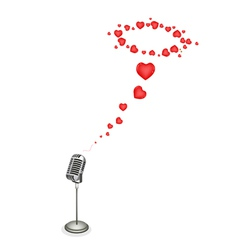 Lovely hearts with retro microphone vector
