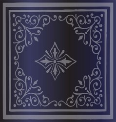 Vintage border background antique ornament blue vector