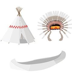 Wigwam canoe and headdress vector