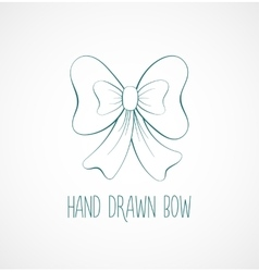 Hand drawn sketch of blue festive bow vector
