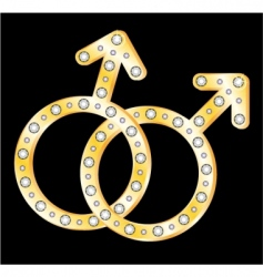 Gold gays couple symbol vector