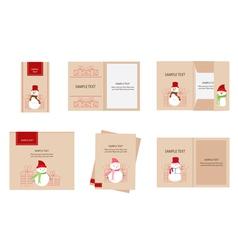 Brand identity snowman christmas retro vector