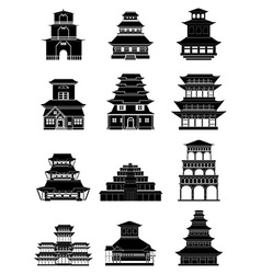 Ancient chinese architecture buildings icons set vector