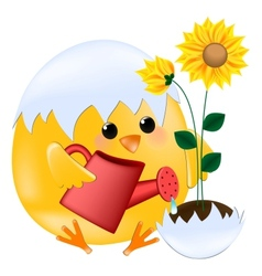 Chick with sunflower vector