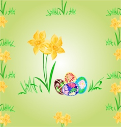Daffodil and easter eggs seamless texture vector