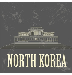 North korea landmarks retro styled image vector