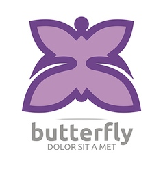 Logo butterfly leaf purple insect spring symbol vector