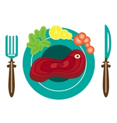 Picture of plate with meat vector
