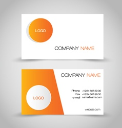 Business card set template orange and white color vector