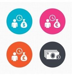 Bank loans icons cash money symbols vector