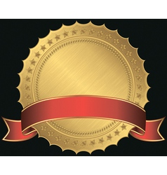 Golden blank label with red ribbon vector