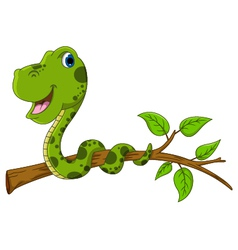 Cute green snake cartoon on tree vector