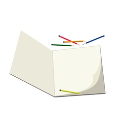 Colored pencils lying on a blank sketchbook vector