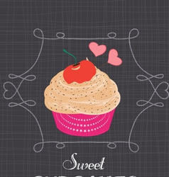 Chalkboard style poster with cupcake vector