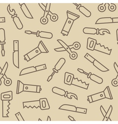 Linear swiss knife tools on brown back seamless vector