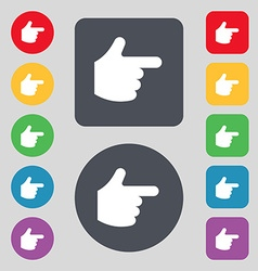Pointing hand icon sign a set of 12 colored vector