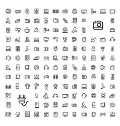 Black video and audio icons set vector