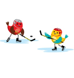 Birds play hockey vector