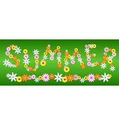 Glossy flower summer letters on green vector