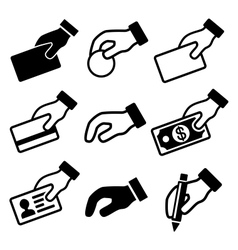 Hand with different objects icons set vector