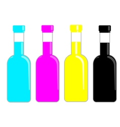 Cmyk bottles ink for print publishing vector