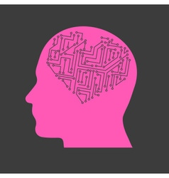 Electric heart in pink head technical research vector