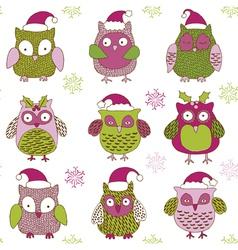 Christmas owls vector