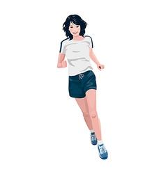 Jogging woman vector