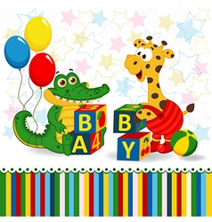 Giraffe and crocodile baby blocks vector