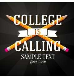 College is calling greeting with two crossed vector