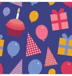 Happy birthday seamless pattern flat style set vector