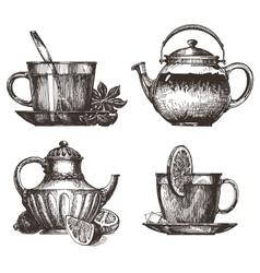 Tea party logo design template drink or vector
