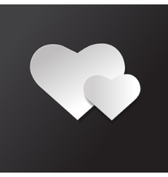 Icon black and white two hearts vector
