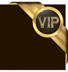 Vip golden label with diamonds and gold ribbon vector