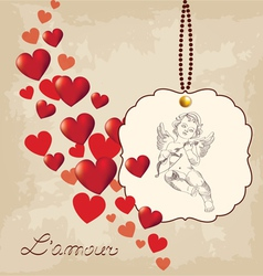 Valentines day amour with hearts vector