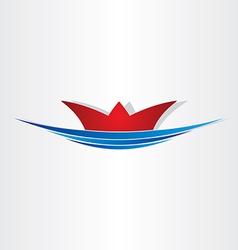 Ship on sea sailing symbol vector