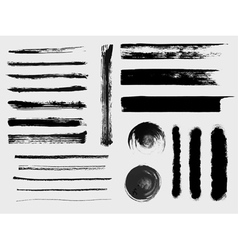 Set of grungy brushes and textures vector