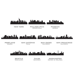 Silhouettes of the usa cities 3 vector