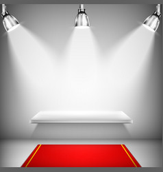 Illuminated shelf with red carpet vector