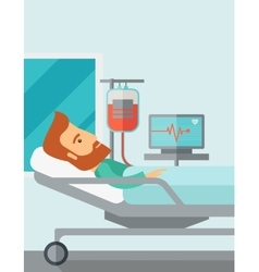 Patient in hospital bed being monitored vector