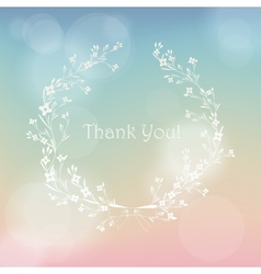 Floral wreath frame thank you card vector
