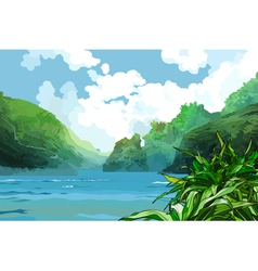 Landscape beautiful bay among green mountains vector