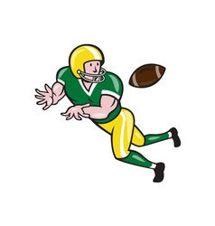American football wide receiver catch ball cartoon vector