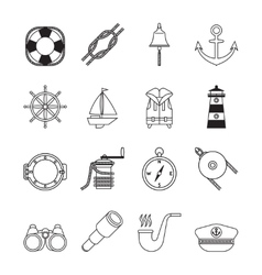 Set of black line yachting and sailing icons vector